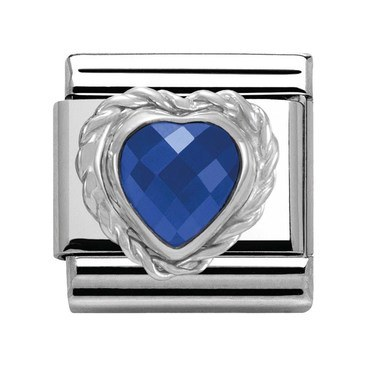 Nomination Sapphire Blue Heart Charm  - Click to view larger image