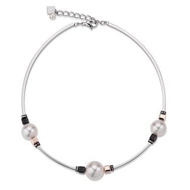 Coeur De Lion Swarovski Crystal Pearls, Black & Rose Gold Necklace