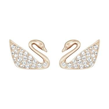 Swarovski Mini Swan Rose Gold Earrings  - Click to view larger image