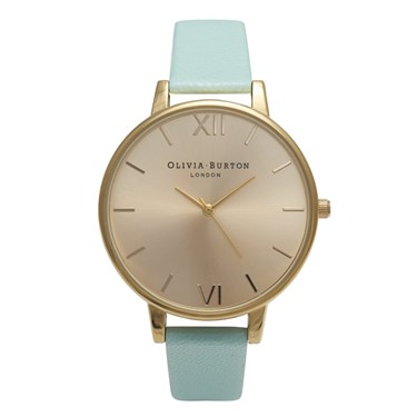 Olivia Burton Big Dial Mint & Gold Watch  - Click to view larger image