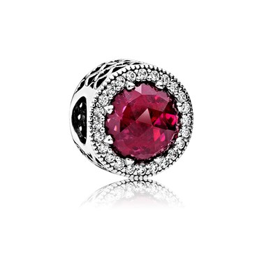 Pandora Cerise Radiant Heart Crystal Charm  - Click to view larger image