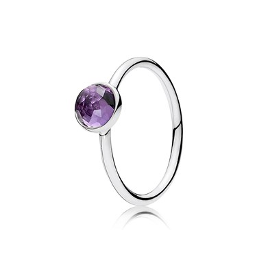 Pandora February Droplet Birthstone Ring  - Click to view larger image