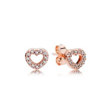 Pandora Rose Crystal Heart Earrings  - Click to view larger image
