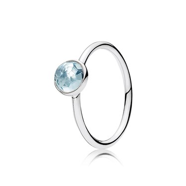 Pandora March Droplet Birthstone Ring  - Click to view larger image