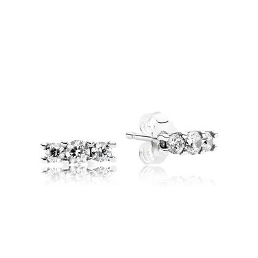 Pandora Shining Silver Crystal Trio Earrings  - Click to view larger image