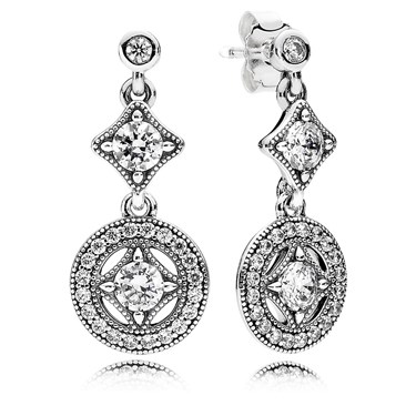 Pandora Vintage Allure Crystal Drop Earrings  - Click to view larger image