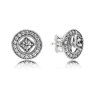 Pandora Vintage Shine Silver Earrings  - Click to view larger image