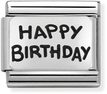 Nomination Silver Happy Birthday Charm  - Click to view larger image