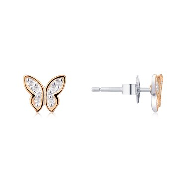 Storie Rose Gold Mix Butterfly Stud Earrings  - Click to view larger image