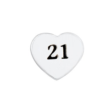 Storie 21 Birthday Heart Charm  - Click to view larger image