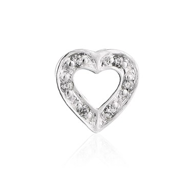 Storie Sparkly Open Heart Charm  - Click to view larger image