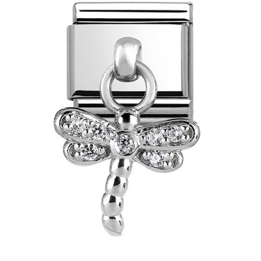 Nomination Silver Sparkling Dangly Dragonfly Charm  - Click to view larger image