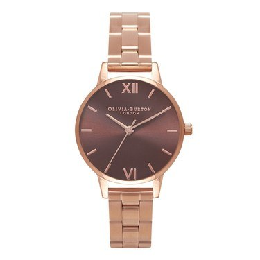 Olivia Burton Brown Midi Dial Rose Gold Bracelet Watch  - Click to view larger image