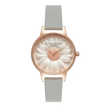 Olivia Burton Moulded Daisy Grey & Rose Gold Watch  - Click to view larger image