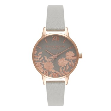 14af09e74 Olivia Burton Lace Detail Midi Grey & Rose Gold Watch - Click to view  larger image