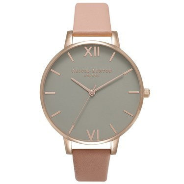 Olivia Burton Big Grey Dial & Dusty Pink Watch  - Click to view larger image