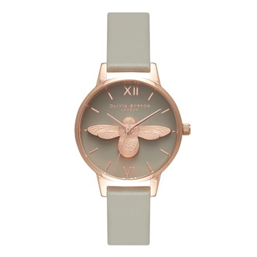 Olivia Burton 3D Bee Grey Dial & Rose Gold Watch  - Click to view larger image