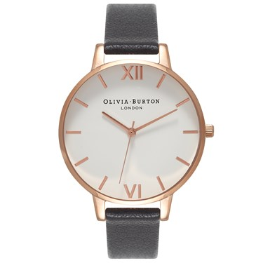 Olivia Burton White Big Dial Black & Rose Gold Watch  - Click to view larger image