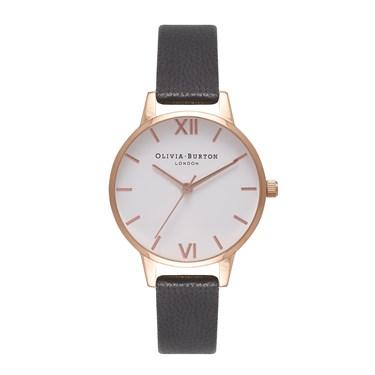 Olivia Burton White Midi Dial Black & Rose Gold Watch  - Click to view larger image