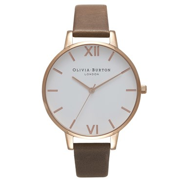 Olivia Burton White Big Dial Brown & Rose Gold Watch  - Click to view larger image