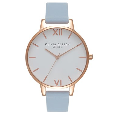 Olivia Burton White Big Dial Chalk Blue & Rose Gold Watch  - Click to view larger image