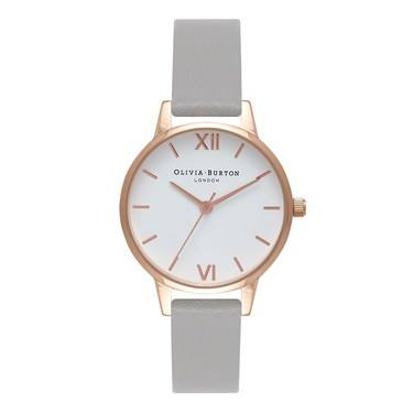 Olivia Burton White Midi Dial Grey & Rose Gold Watch  - Click to view larger image