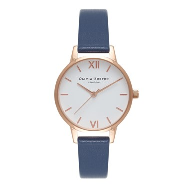 Olivia Burton White Midi Dial Navy & Rose Gold Watch   - Click to view larger image
