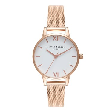 Olivia Burton White Midi Dial Rose Gold Mesh Watch  - Click to view larger image