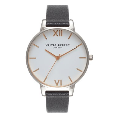 Olivia Burton Big Dial Black & Silver Watch  - Click to view larger image