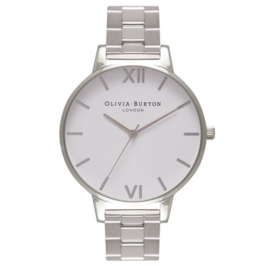 Olivia Burton White Big Dial Silver Bracelet Watch  - Click to view larger image
