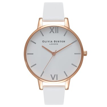 Olivia Burton Big Dial White & Rose Gold Watch  - Click to view larger image