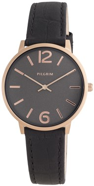 PILGRIM Black & Rose Gold Watch