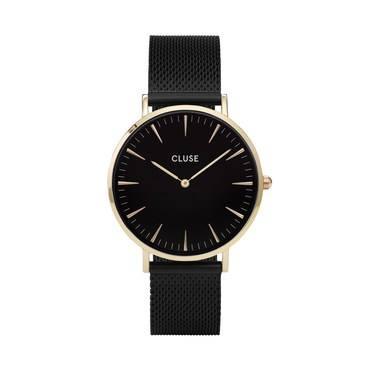 CLUSE La Bohème Gold & Black Mesh Watch   - Click to view larger image