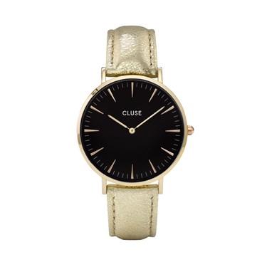 CLUSE La Bohème Black & Gold Metallic Watch