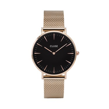 CLUSE La Bohème Mesh Black & Rose Gold Watch  - Click to view larger image