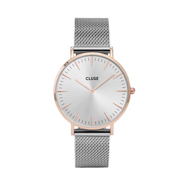 CLUSE La Bohème Rose Gold & Silver Mesh Watch  - Click to view larger image