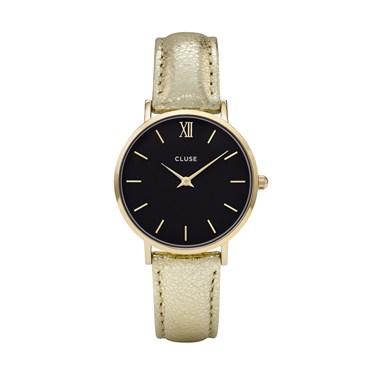 CLUSE Minuit Black & Gold Metallic Watch