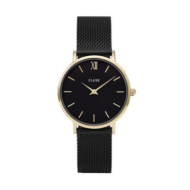 CLUSE Minuit Gold & Black Mesh Watch  - Click to view larger image