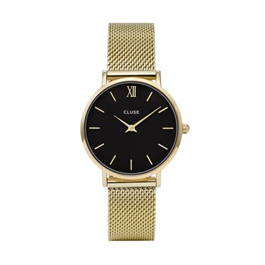 CLUSE Minuit Black & Gold Mesh Watch  - Click to view larger image