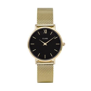 CLUSE Minuit Black & Gold Mesh Watch