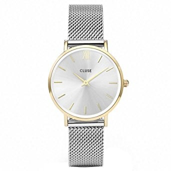 CLUSE Minuit Mesh Gold & Silver Watch  - Click to view larger image