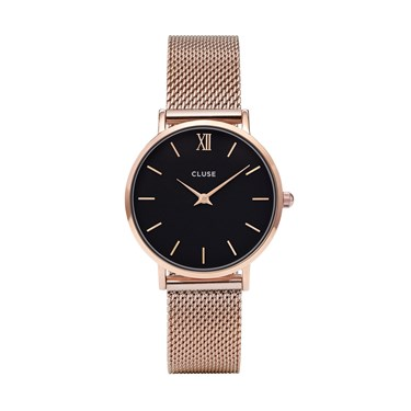 CLUSE Minuit Black & Rose Gold Mesh Watch  - Click to view larger image