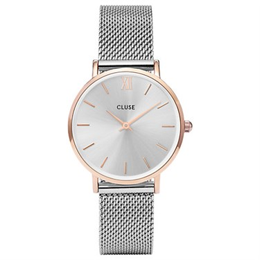 CLUSE Minuit Rose Gold & Silver Mesh Watch  - Click to view larger image