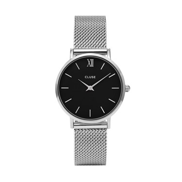CLUSE Minuit Black & Silver Mesh Watch  - Click to view larger image