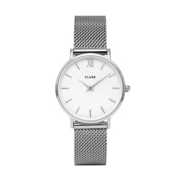 CLUSE Minuit Silver Mesh Watch  - Click to view larger image