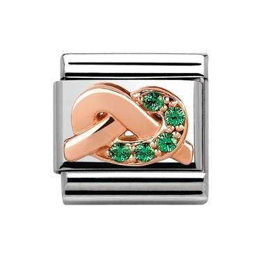 Nomination Rose Gold Luck Green Crystal Charm   - Click to view larger image