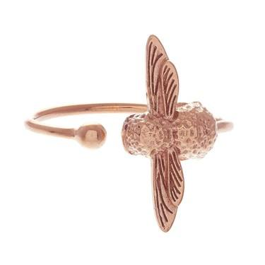 Olivia Burton Rose Gold Bee Ring  - Click to view larger image