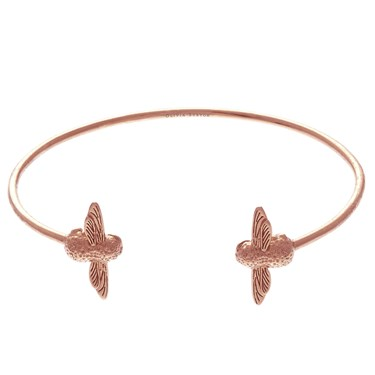 Olivia Burton Rose Gold Bee Open Bangle  - Click to view larger image
