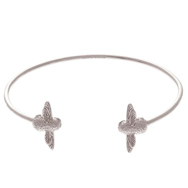 Olivia Burton Silver Bee Open Bangle  - Click to view larger image