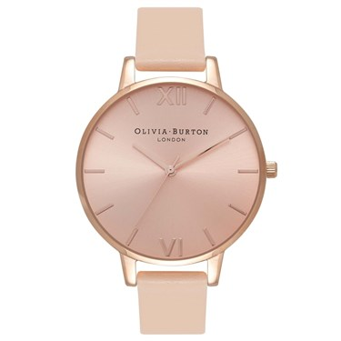 Olivia Burton Nude Peach Big Dial & Rose Gold Watch  - Click to view larger image